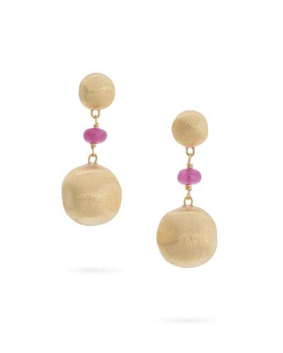 18k Gold Africa Ruby Drop Earrings