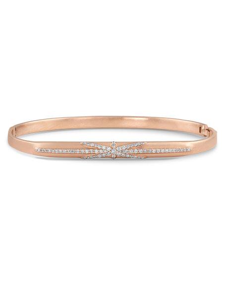 Dominique Cohen 18k Rose Gold Northstar Diamond Hinged Huggie Bangle Bracelet