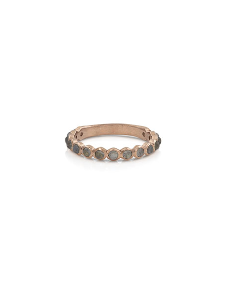 Dominique Cohen 18k Rose Gold Labradorite Stack Ring, Size 7