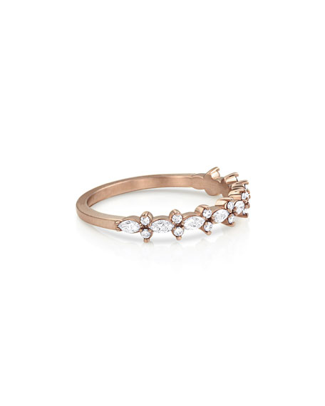 Dominique Cohen 18k Rose Gold Diamond Crown Stack Ring, Size 7