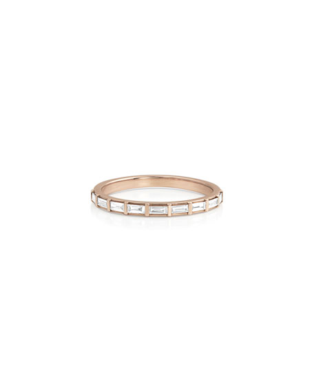Dominique Cohen 14k Rose Gold Baguette-Diamond Halfway Ring, Size 7