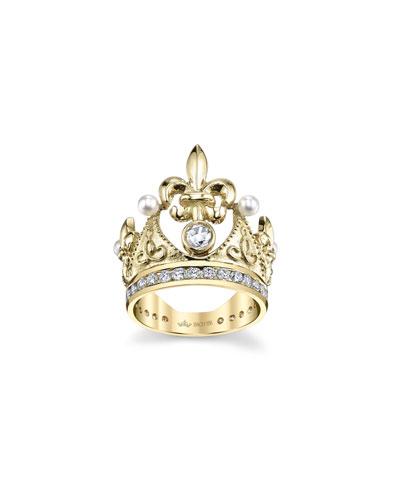 18k Fleur-de-Lis Diamond & Pearl Crown Ring  Size 5.75