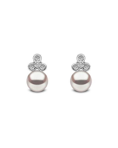 Yoko London 18k White Gold Pearl & Diamond Trio Stud Earrings