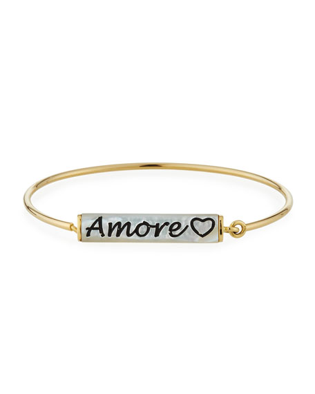 Miseno 18k Mother-of-Pearl 'Amore' Engraved Wire Bracelet