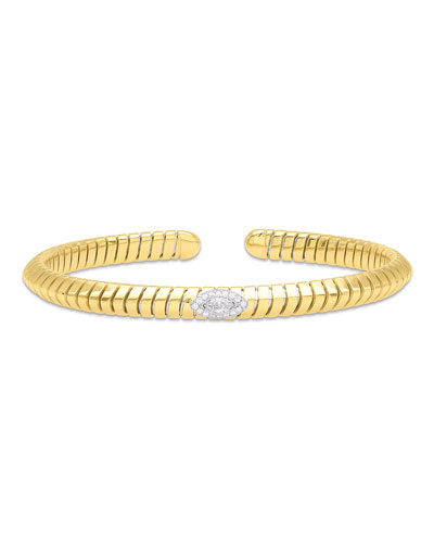 Trisola 18k Diamond Navetta Bangle  Size M