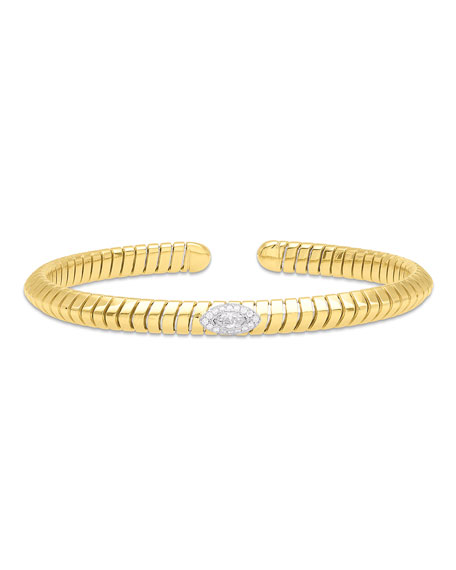 Marina B Trisola 18k Diamond Navetta Bangle, Size M