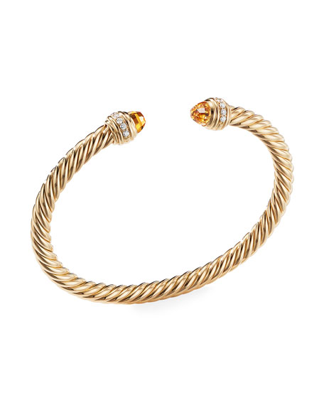 David Yurman 18k Gold Cable Bracelet w/ Diamonds & Citrine, Size M