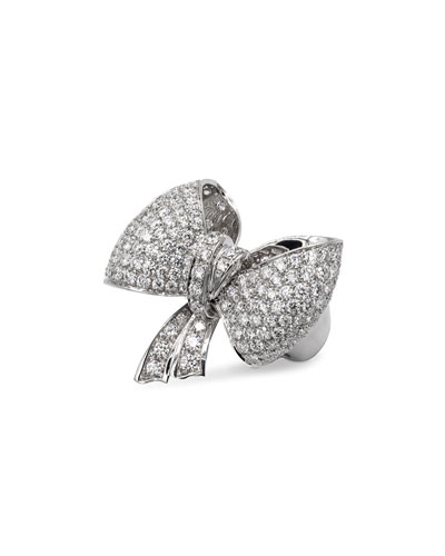 Iconic Bow 18k White Gold Diamond Ring  Size 7