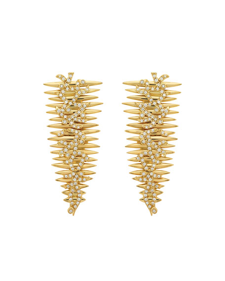 Hueb TRIBAL 18K GOLD DIAMOND DROP EARRINGS