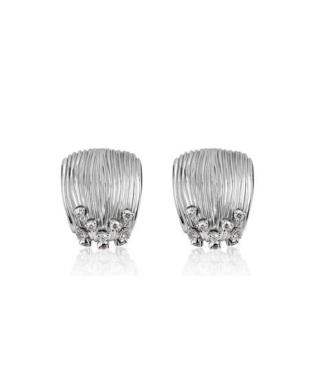 Hueb Plisse 18k White Gold Pleated Diamond Earrings