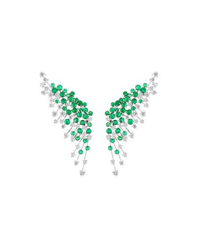 Luminus 18k White Gold Diamond & Emerald Winged Earrings