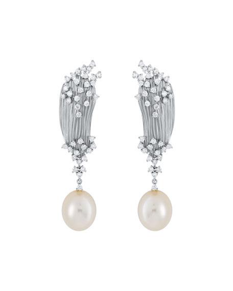 Hueb Plisse 18k White Gold Diamond & Pearl Earrings