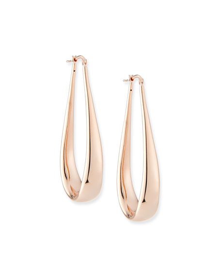 Image 1 of 2: Alberto Milani 18k Rose Gold Electroform Oblong Hoop Earrings