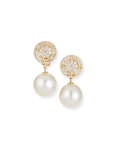 Whisper 18k Gold Diamond & Pearl Drop Earrings