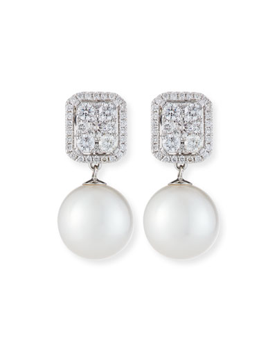 18k White Gold Diamond & Pearl Convertible Earrings