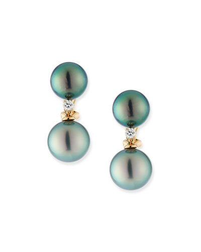 18k Double-Pearl Clip-On Earrings w/ Diamonds