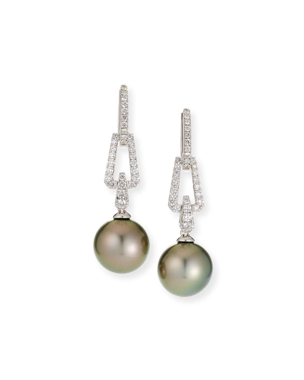 Belpearl 18k White Gold Diamond Interlock & Pearl Earrings