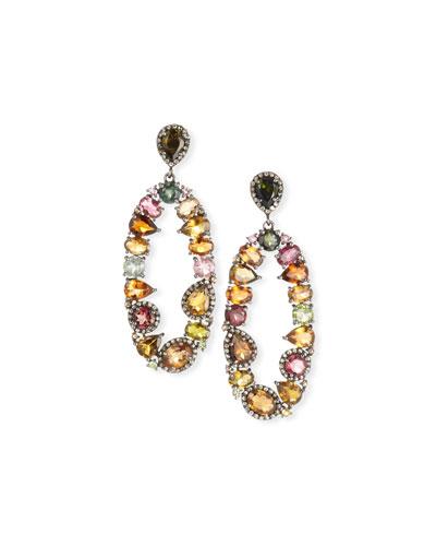 Tourmaline & Diamond Oval Earrings