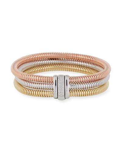 Tubogas 18k Gold Tricolor Stacked Bracelet w/ Diamonds