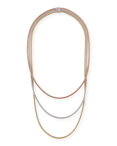 Tubogas 18k Gold Tricolor Layered Necklace w/ Diamonds