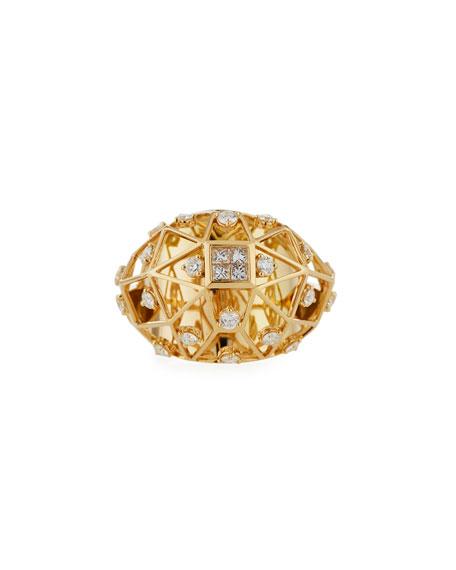 Hueb Estellar 18k Gold Diamond Ring, Size 7