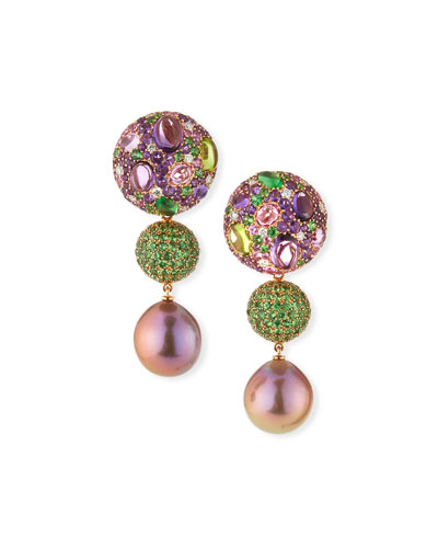 One-of-a-Kind 18k Pink Pearl & Mixed-Stone Drop Earrings