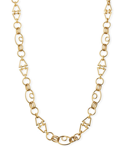 18k Gold Geometric Chain Necklace