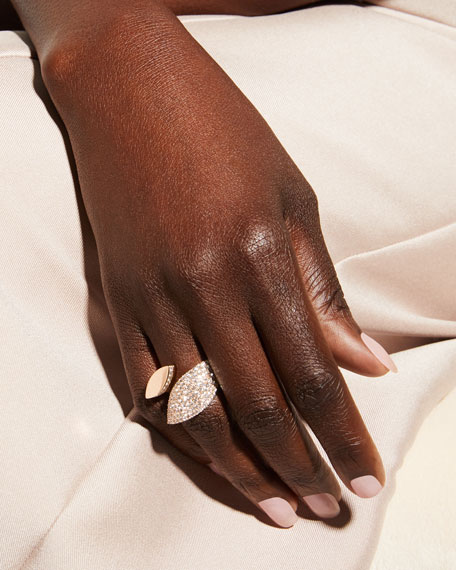 Roberto Coin 18k Rose Gold Diamond Petal Ring, Size 7