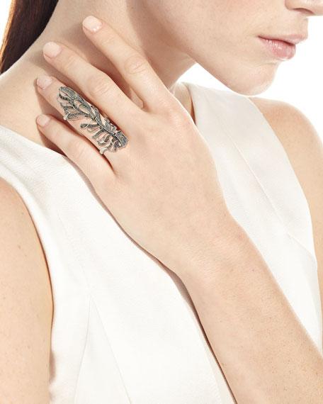 Loree Rodkin 18k White Gold Diamond Peacock Feather Ring, Size 4