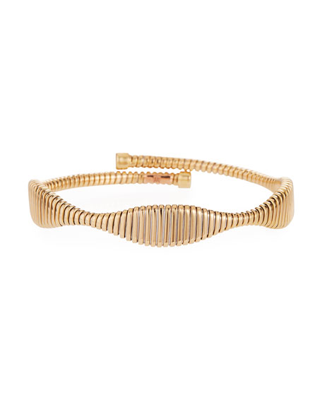 Alberto Milani 18k Gold Tubogas Bypass Flex Bangle
