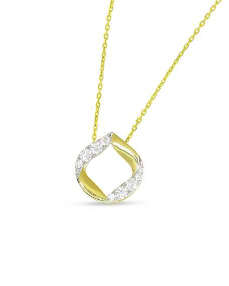 Frederic Sage 18k Large Half-Diamond Halo Kiss Pendant Necklace