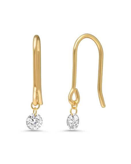 Nicha Jewelry 18k Gold Delicate Floating Round Diamond Earrings