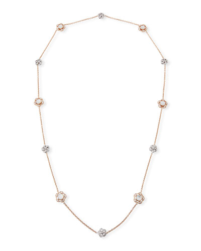 18k Rose Gold Diamond & Mother-of-Pearl Flower-Station Necklace  36