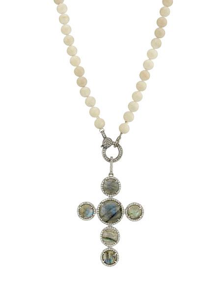 Sheryl Lowe Coral, Labradorite & Diamond Cross Necklace