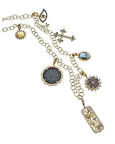 Tanya Farah Modern Etruscan Suffragette Coin Pendant w/ Diamonds