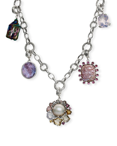 Multi-Stone & Pearl Charm Necklace