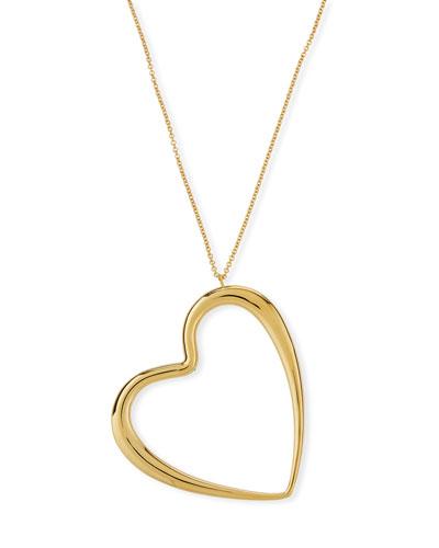 18k Graduated Oversize Heart Pendant Necklace