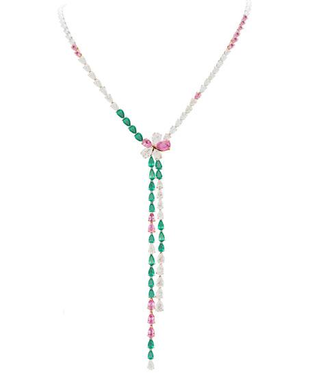 Gismondi 1754 18k White gold Emerald, Pink Sapphire & Diamond Y-Drop Necklace