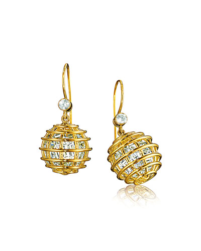 18k Rock Crystal Caged Drop Earrings
