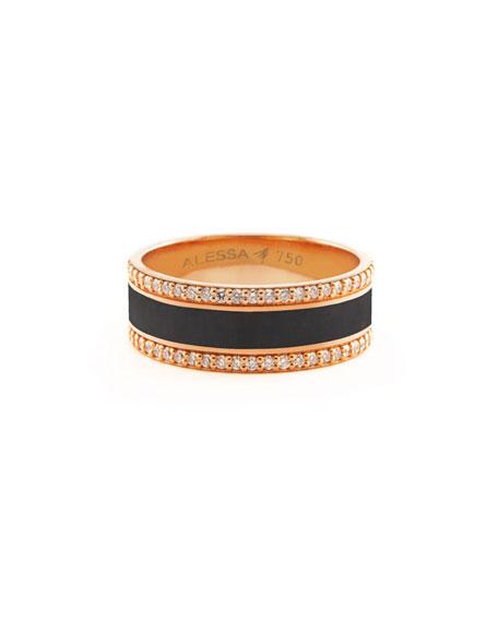 Alessa Jewelry Spectrum Painted 18k Rose Gold Ring w/ Diamond Trim, Black, Size 7.5