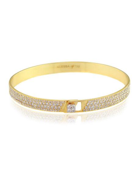 Alessa Jewelry Spectrum 18k Yellow Gold Bangle w/ Pave Diamonds, Size 16
