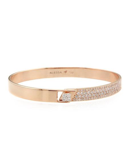 Alessa Jewelry Spectrum 18k Rose Gold Bangle w/ Diamonds, Size 17