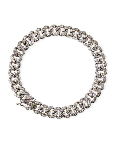 18k White Gold Diamond Pave Chain Bracelet