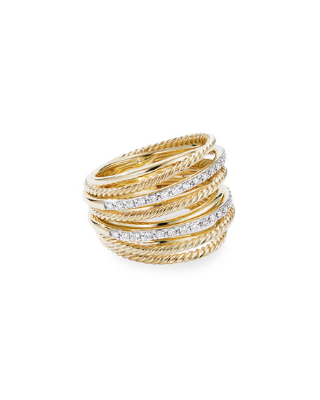Image 1 of 3: David Yurman DY Crossover Wide 18k Gold Ring w/ Diamonds, Size 9
