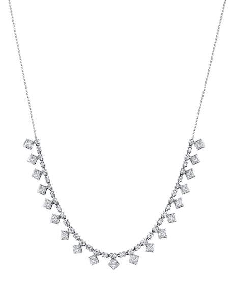 Borgioni 18k White Gold Diamond Pyramid Choker Necklace
