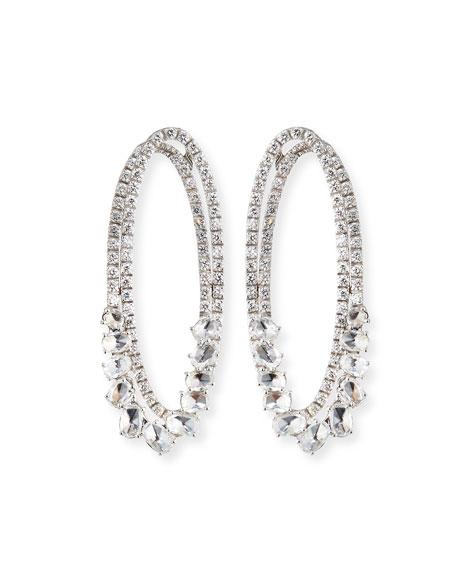 Staurino Spaghetti 18k White Gold Diamond Oval Hoop Earrings