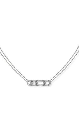 Messika Move Diamond Pave Necklace, White Gold