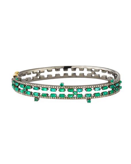 Siena Jewelry Diamond & Emerald Baguette Bangle