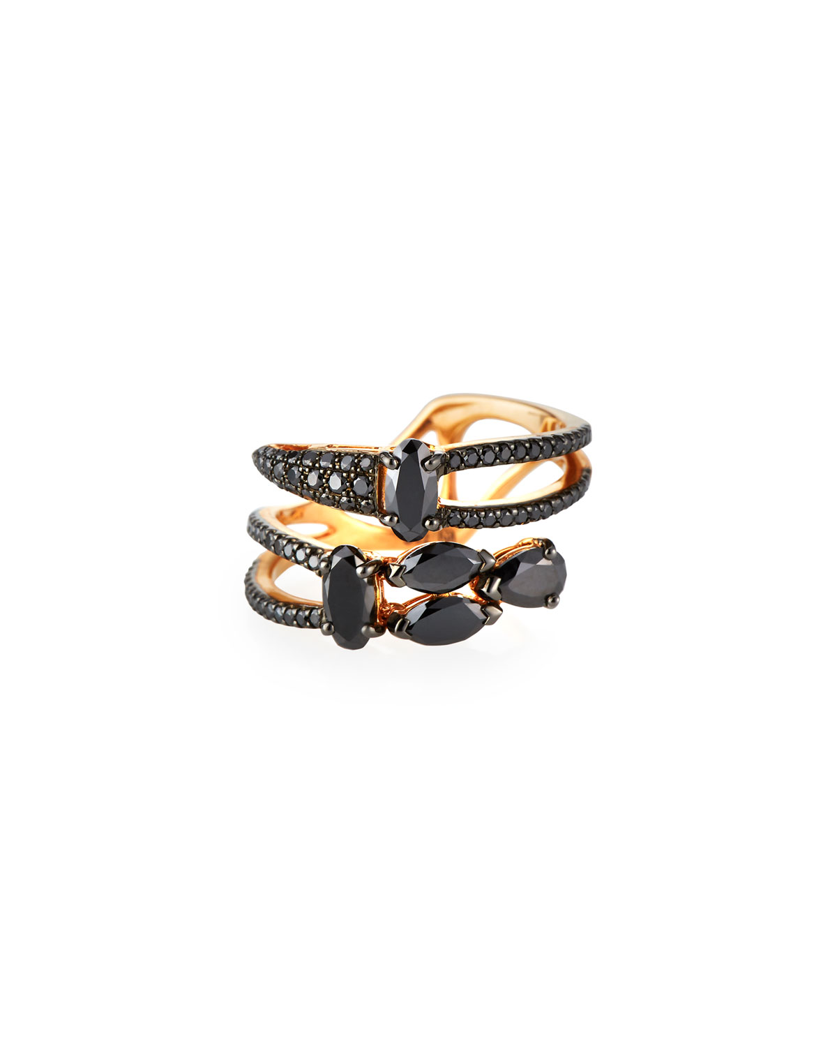 Etho Maria 18k Rose Gold Black Diamond Bypass Ring, Size 6.25