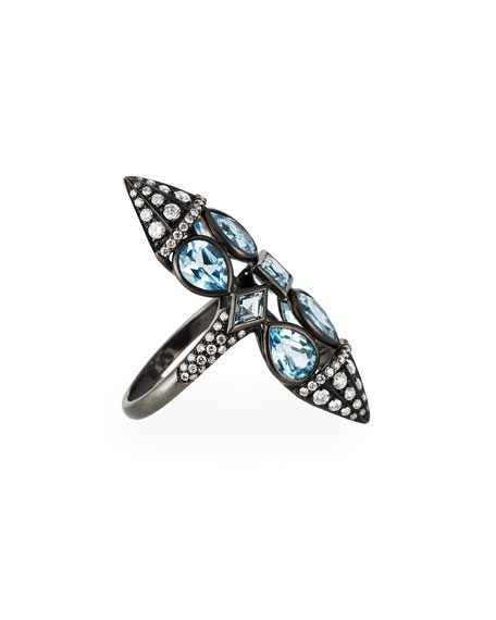 Etho Maria 18k Blue Topaz & Diamond Ring, Size 6.25
